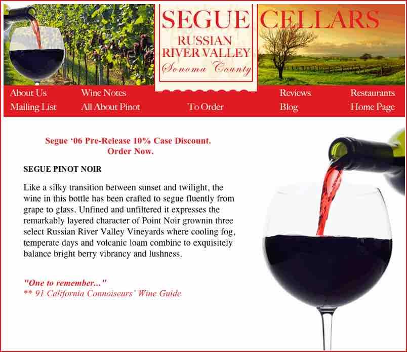 Segue Cellars Website Layout Design by Susan Searway Art & Design