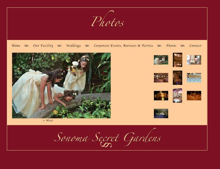Sonoma Secret Gardens Website designed by Susan Searway Art & Design