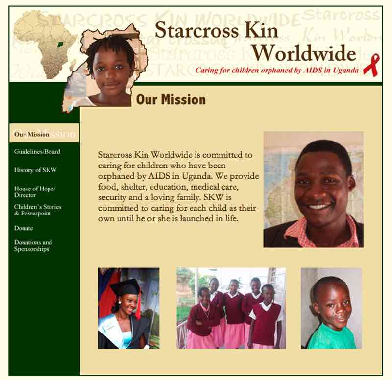 Starcross Kin Worldwide Website designed by Susan Searway Art & Design