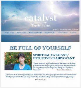 Terrie Burns, Spiritual Catalyst/Intuitive Clairvoyant, Website