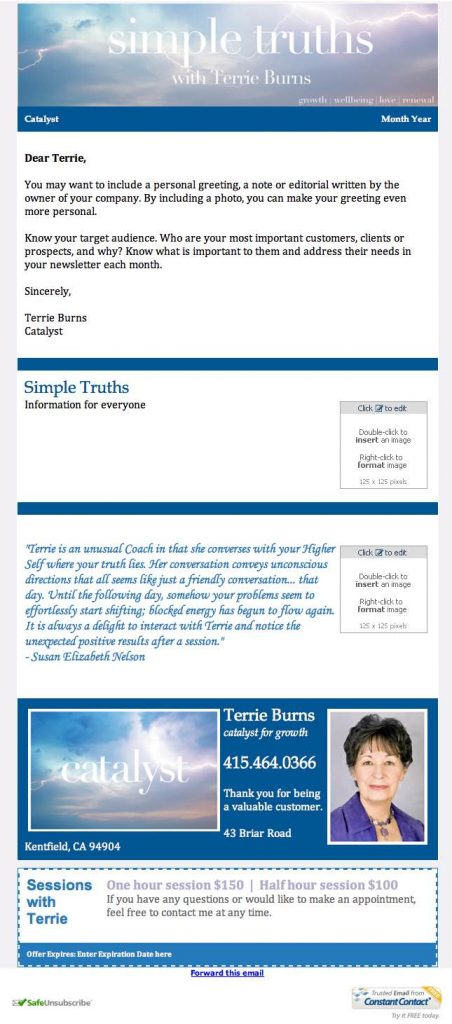 Terrie Burns - Simple Truths - Constant Contact Email Template