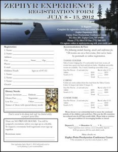 Zephyr Experience Spiritual Conference Registration Form