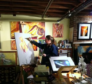 Susan Searway-Fertig Painting in Art Studio