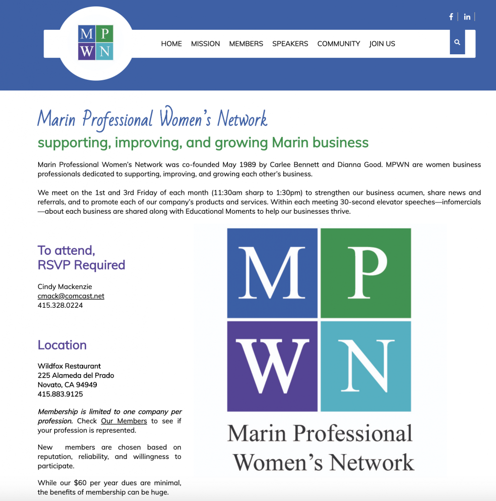 Marin Professional Women's Network MPWN Website designed by Susan Searway Art & Design