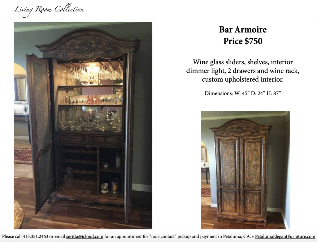 Petaluma Elegant Furniture |  Bar Armoire | Furniture Description PDF
