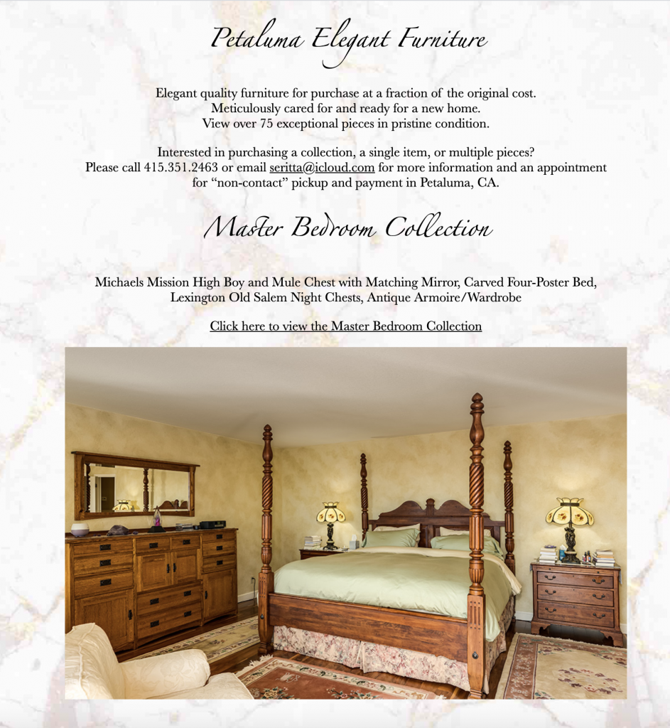 Petaluma Elegant Furniture custom HTML Landing Page website