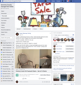 Social Media Product For Sale Posts | FaceBook Sonoma County Garage Sale